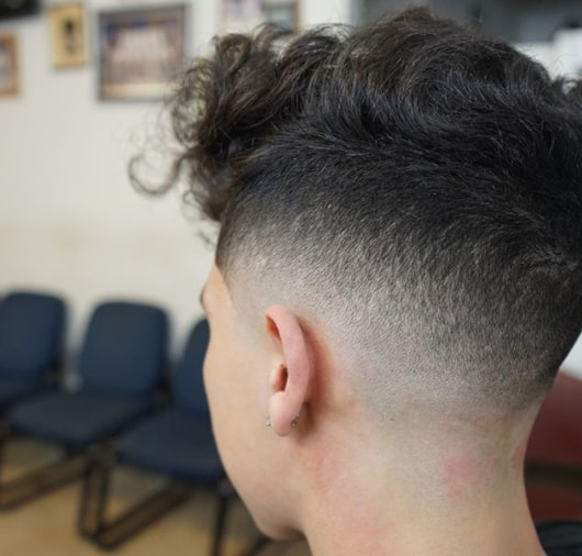 Wild Loose Wavy Hairstyle with Drop Fade
