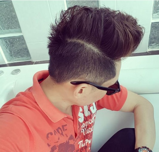 Medium Hairs Combover with High Fade