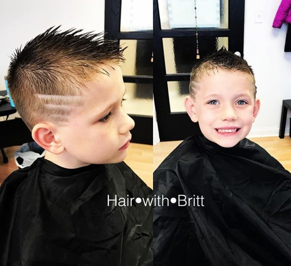 Kids Spikes Haircut with Side Design - Cool Haircut for Boys