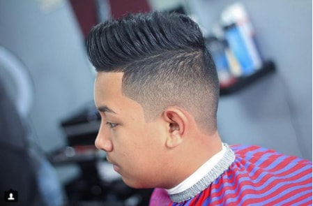 Burshed Back Thick Hairs with High Fade