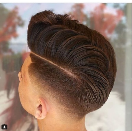 Medium Pompadour with mid Fade Haircut