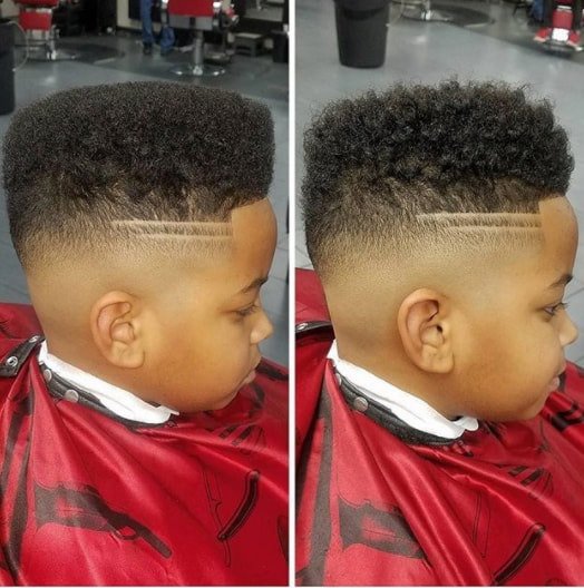 Flat Top with High Fade Black Boy Haircut
