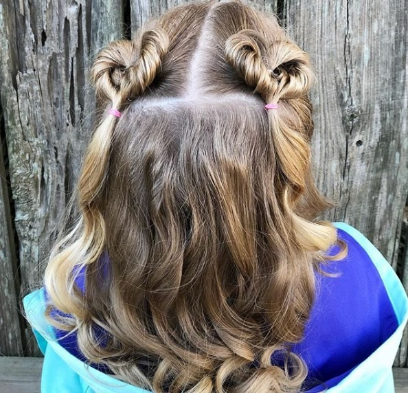 Fancy Double Heart Bun Wavy Hairstyle for Little Girl
