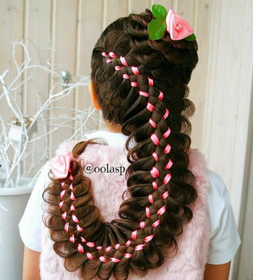 Fancy Long Scolopendra Hairstyle with Ribon