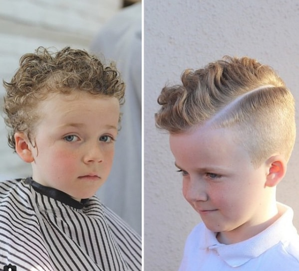 Pompadour Short Curly Kids Haircut