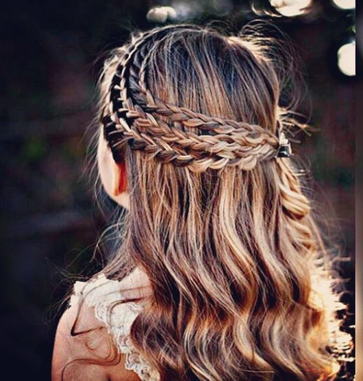 Triple Lace Braid Combined With Layered and Rosette