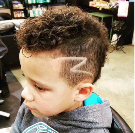 Wavy Faux Hawk with Side Design Boy Haircut