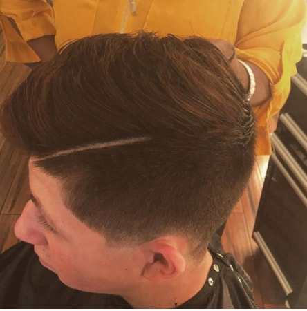 Side Swept Hair With Hard Part And Side Fade