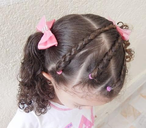 Angled Braids With Curly Pigtails