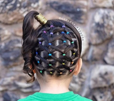 Boxed Braided Hairstyle With Raised Up Pony Style