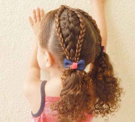 Braided Hairstyle With Curly Ponytails