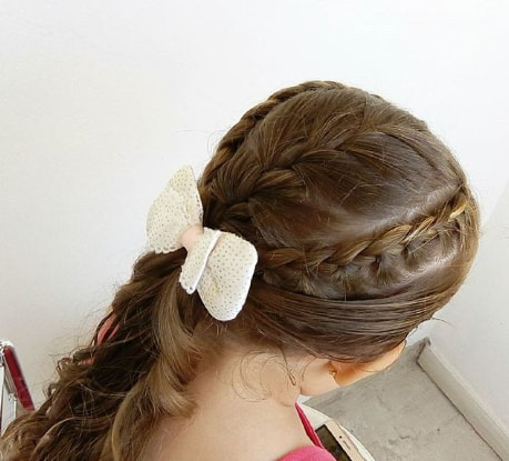 Braided Hairstyle With Long Wavy Ponytail