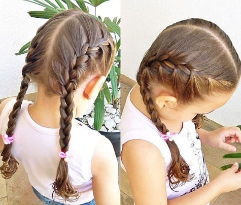 Center Parted Hair With Braided Pigtails