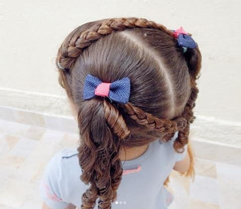 Center Parted Hair With Braided Style