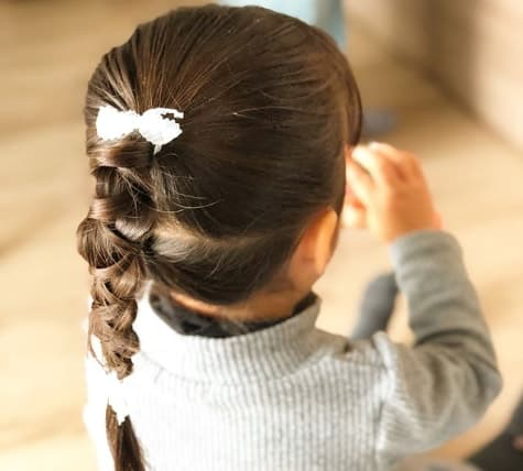 Combed Back With Braided Ponytail