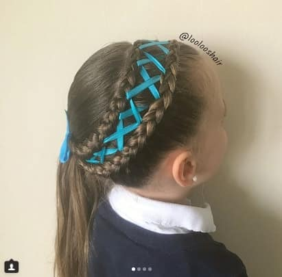 Double Braided Ponytail With Ribbon