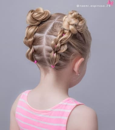 Flowered Braided Pigtails
