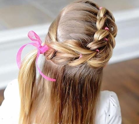 Thick Braided Hairstyle With Open Hair