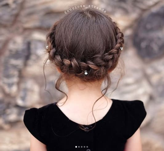 Braided Crown Hairstyle With Jewellery