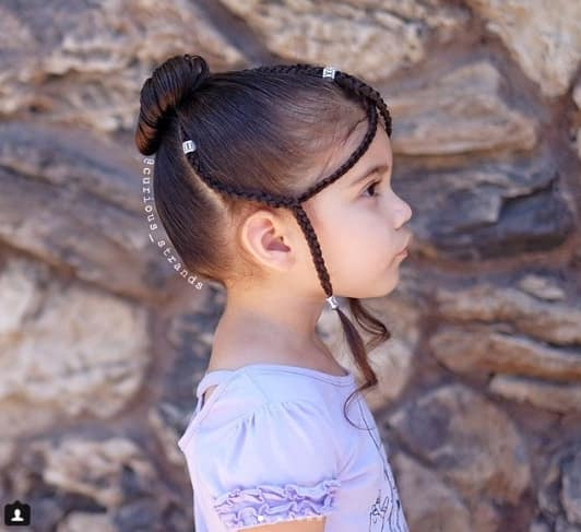 Braided Crown With Fringe And Bun