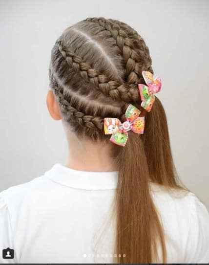 Braided Hairstyle With Unique Ponytails