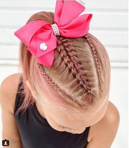Centre Braided Hairstyle With Ponytail