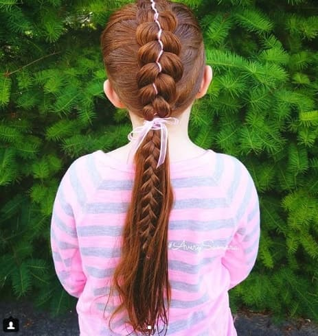 Centre Braided Ponytail With Ribbon Knot