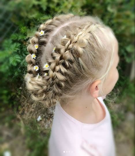 Centre Part With A Thick Braid On The Sides