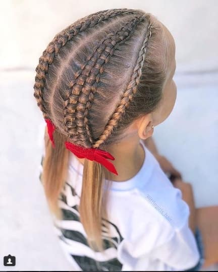 Centre Parted Hairstyle With Braided Top