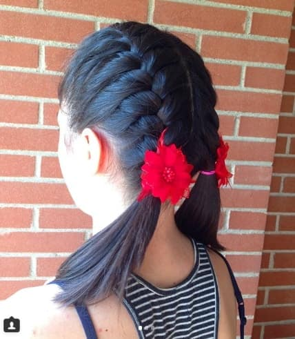 Centre Parted Hairstyle With Braids