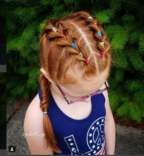 Centre Parted Hairstyle With Double Braids
