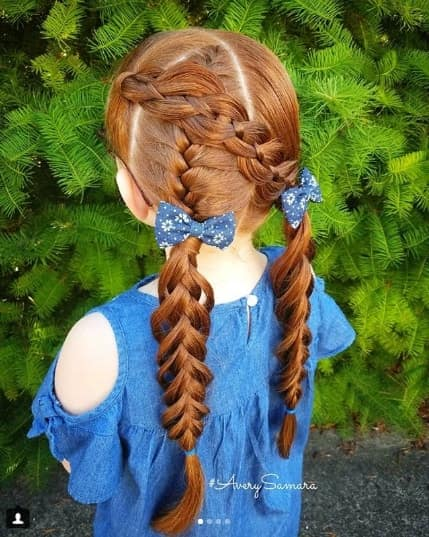 Centre Parted Hairstyle With Thick Braided Ponytails