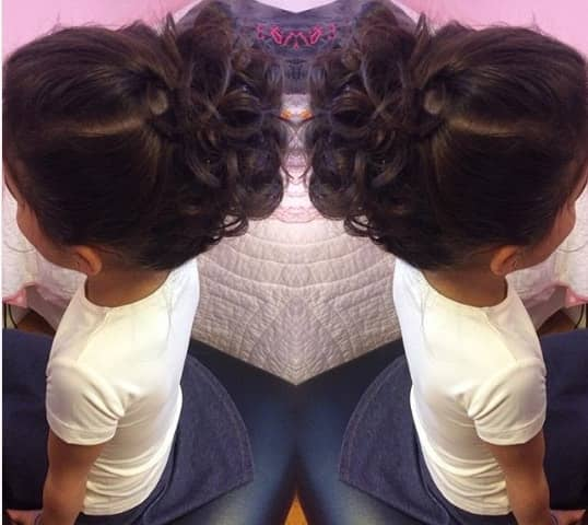 Combed Back Hair With Messy Bun