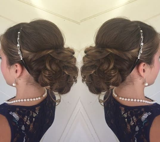 Combed Back Hairstyle With Casual Braided Bun