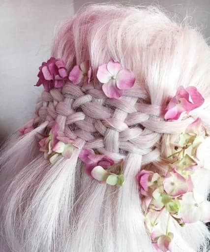 Complex Braided Look With Flowers