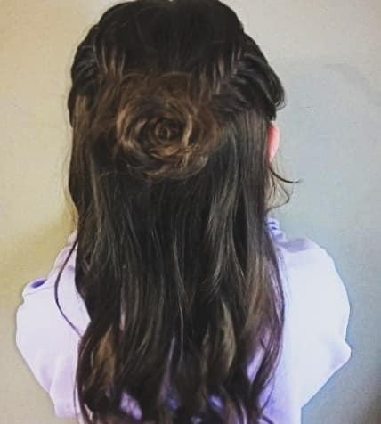 Flower Braid With Open Wavy Hair