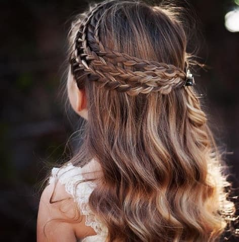 Flowered Braids With Long Wavy Hair