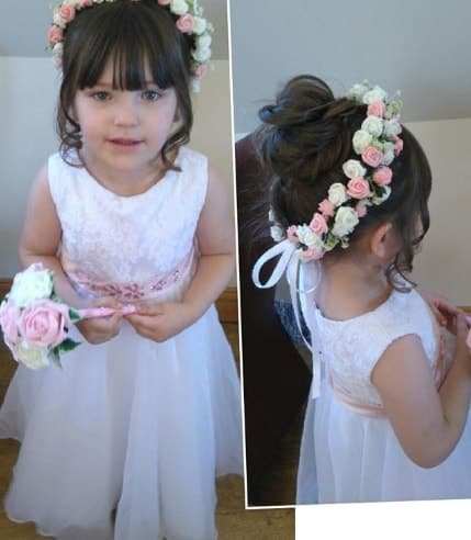 Forward Swept Fringe With Top Bun And Flowers