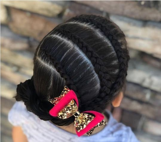 Horizontal Top Braids With A Thick Braided Ponytail