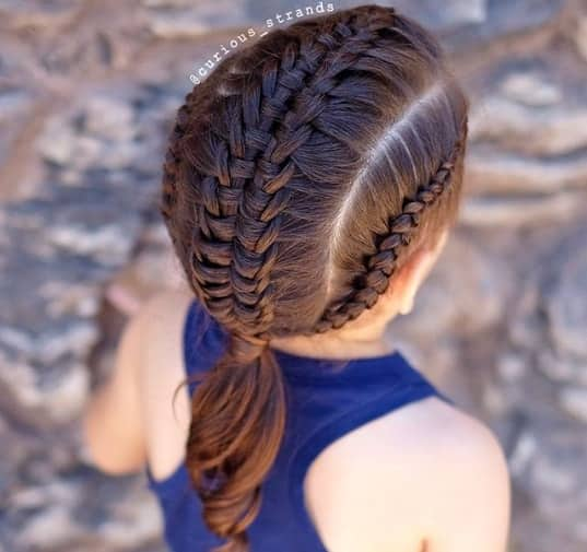 Side Parted Hairstyle With Braids For Little Girl