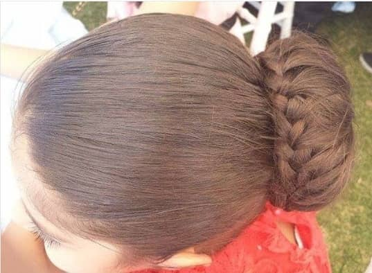 Simple Combed Back Hairstyle With Braided Bun