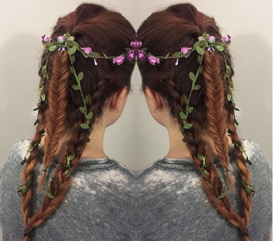 Unique Braided Ponytail With Flowers
