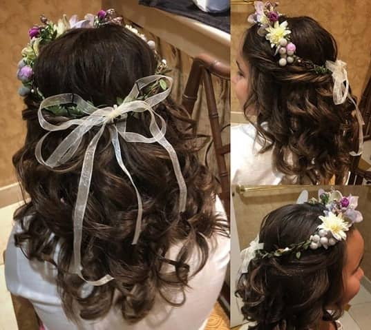 Wavy Back With Frontal Braid And Flowers
