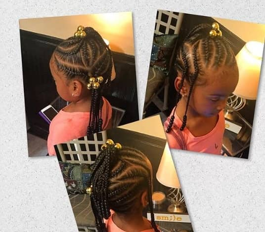 Angled Braided Hairstyle With Top Knot