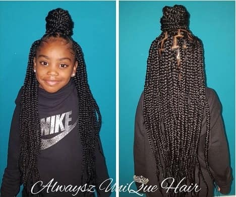 Box Braids With Top Bun