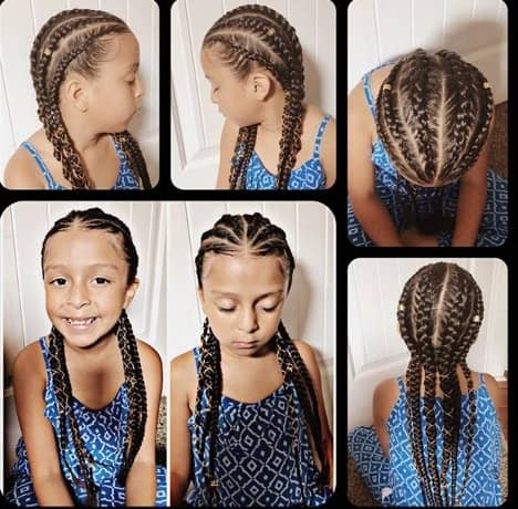 Center Parted Cornrows Braids