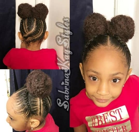 Kinky Pigtails With Braided Top And Back