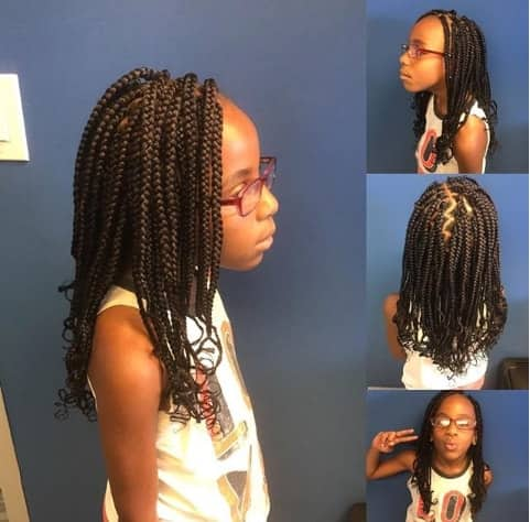 Side Parted Box Braided Hairstyle