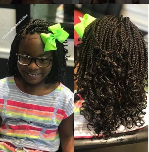 Side Parted Box Braids With Messy Back