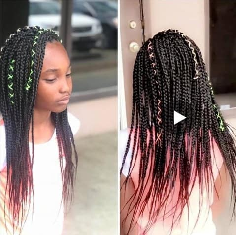 Side Parted Open Braids With Ribbon Twists